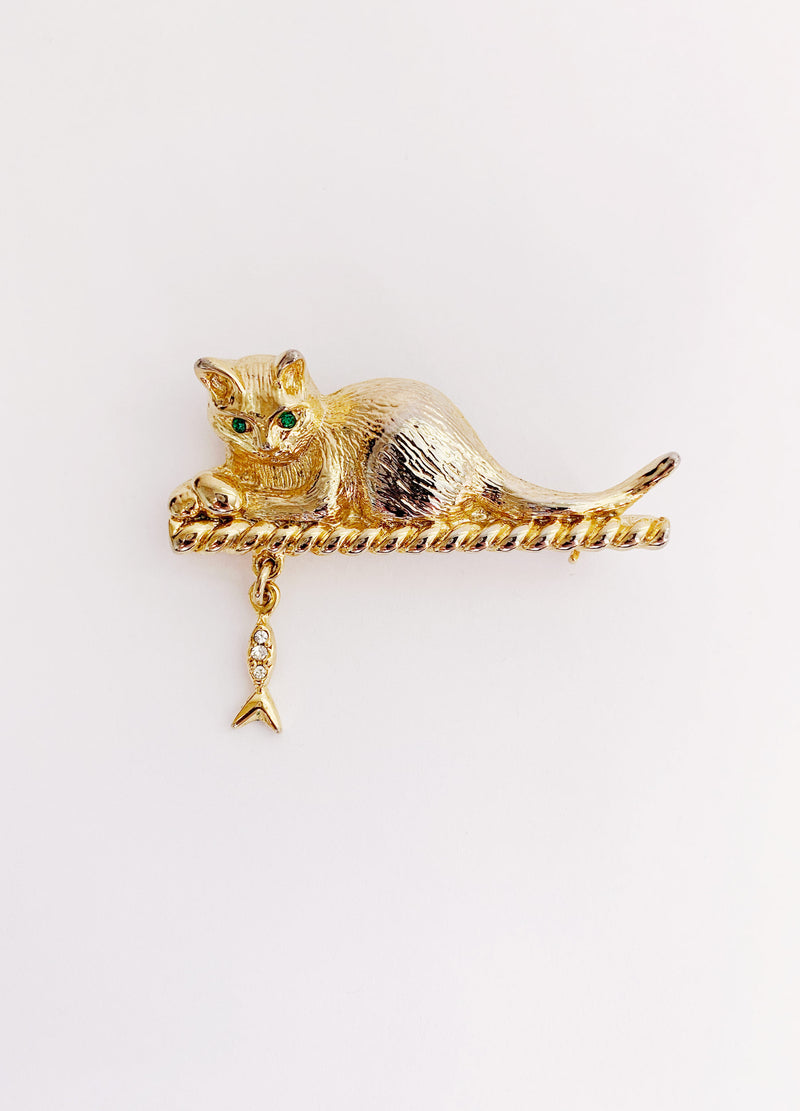 Hungry Cat Brooch (Vintage)
