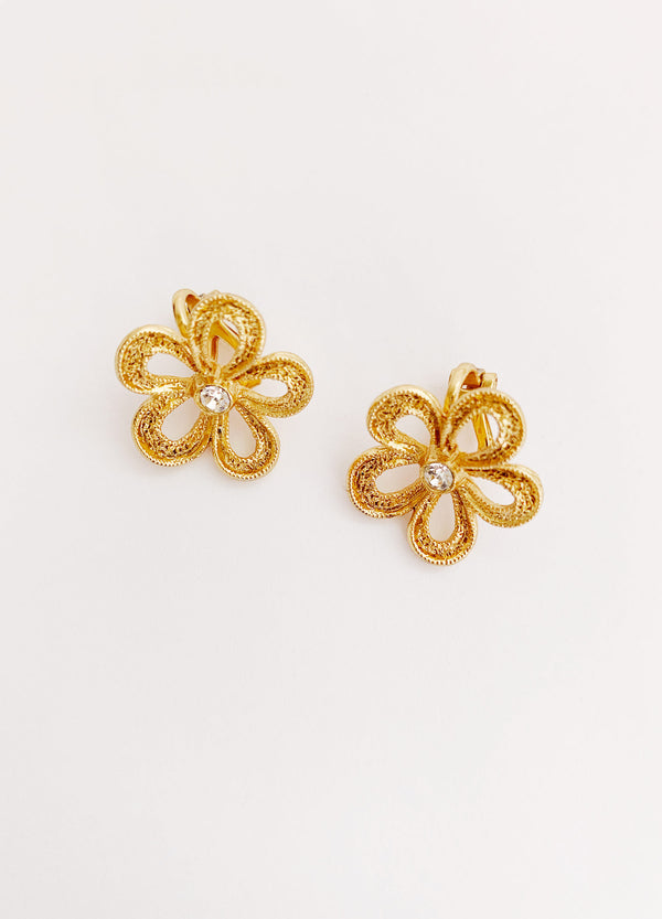Mini Daisy Clip Earrings (Vintage)
