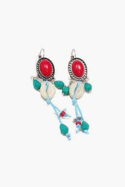 Boucles d'oreilles coquillage rouge