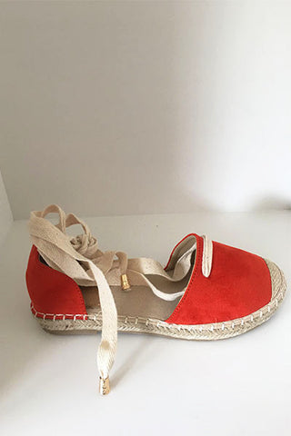 Espadrilles en toile à lacer rouge orange