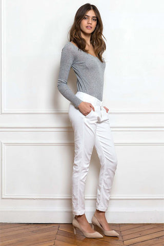Pantalon chino blanc Sally Nvy Denim