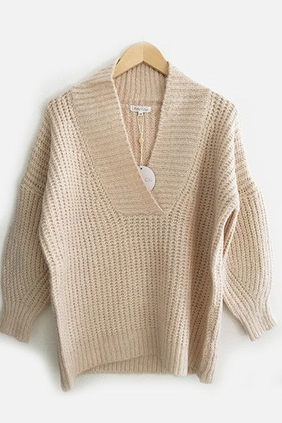 Pull grosse maille nude Amy Lou