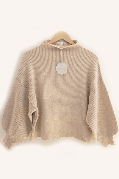 Pull manches ballon beige Amy Lou