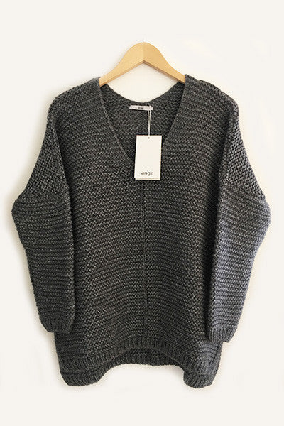 Pull grosse maille gris Lorna An'ge Paris
