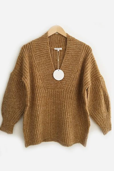 Pull grosse maille camel Amy Lou