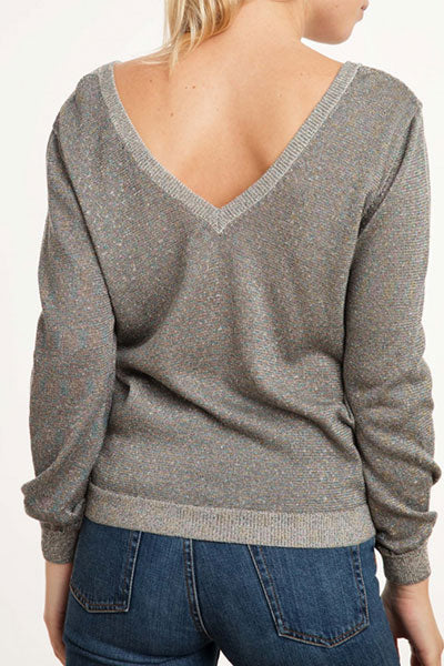 Ange Paris pull col V Lirone taupe