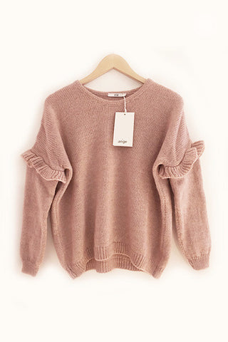 Pull Louka rose à volants An'ge Paris
