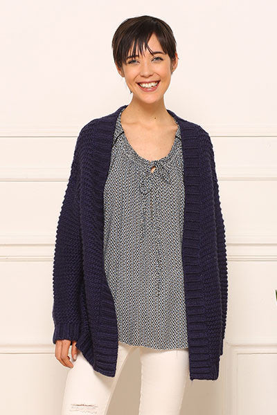 Cardigan grosse maille marine Amy Lou