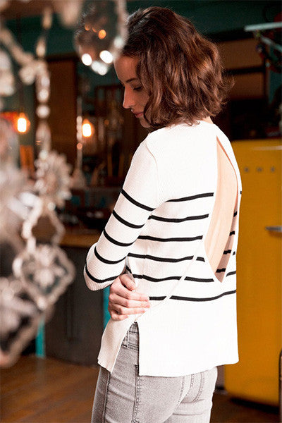 Pull blanc ouvert dans le dos Paulina Andy & Lucy