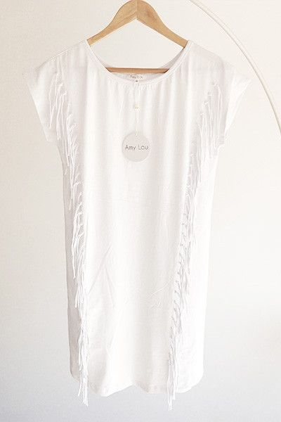 Robe t-shirt blanche à franges Amy Lou