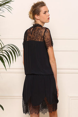 Robe en mousseline et fine dentelle Midnight Amy Lou