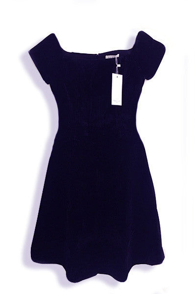 Robe patineuse velours ECRIN épaules nues bleu marine Rigane Andy & Lucy