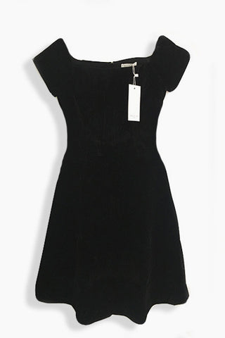 Robe patineuse velours ECRIN épaules nues noire Rigane Andy & Lucy