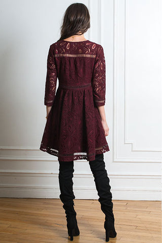 Opullence Paris Robe Magda lace bordeaux
