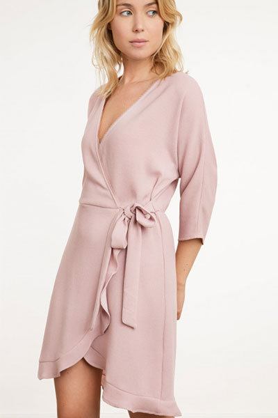 An'ge Paris Robe portefeuille rose EMILO
