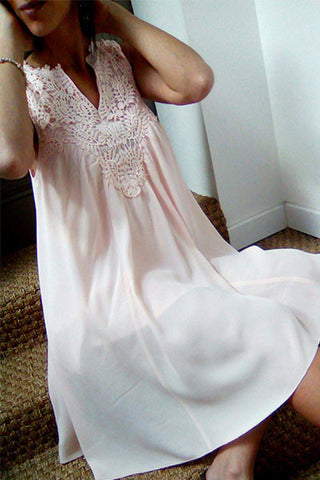 Exclusivité Victoriakhashop : Robe ROZ en mousseline et crochet de coton Blush Amy Lou