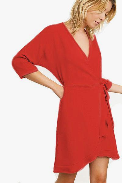 An'ge Paris Robe portefeuille rouge EMILO