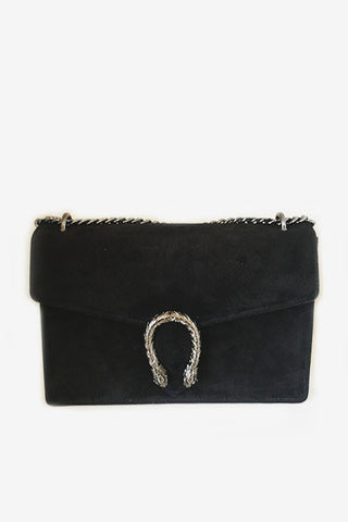 Sac en cuir fermoir serpent noir
