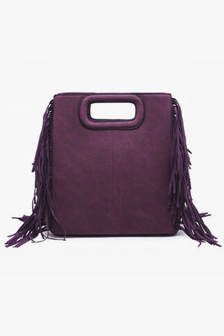 Sac prune à franges
