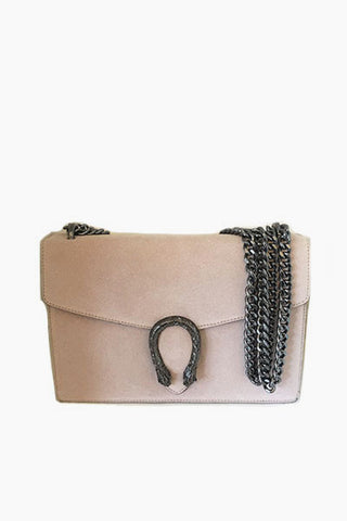Sac en cuir fermoir serpent rose poudré