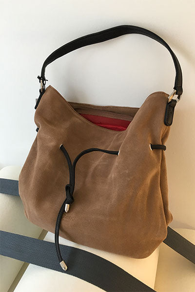 Sac besace cuir suède taupe Genève Cherry