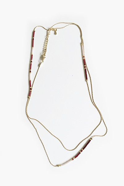 Sautoir long collier chaine Amy Lou rouge