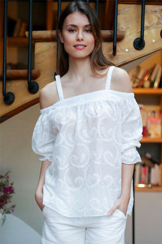 Top Anik off shoulder blanc Orfeo Paris