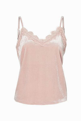 VERO MODA top velours et dentelle rose cloud Anjela