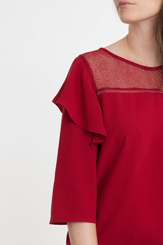Blouse à volants cerise ANNELISE An'ge Paris