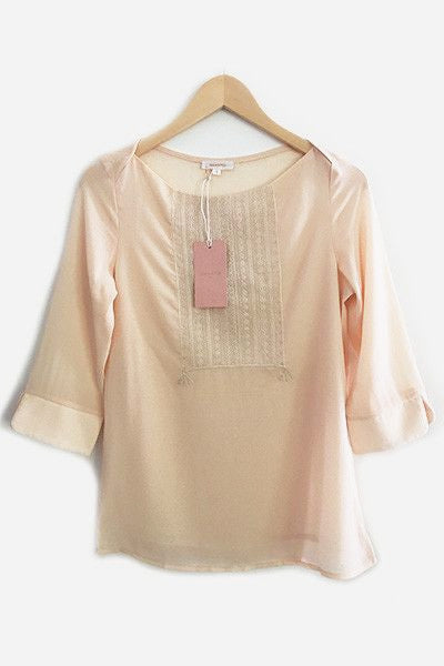 Blouse bordée Latin beige Grace & Mila
