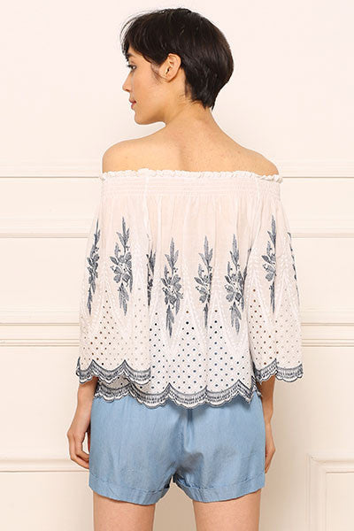 Blouse off shoulders blue ink Amy Lou
