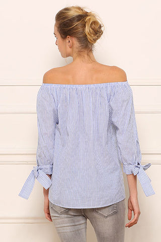 Blouse off shoulders en coton ligné Amy Lou