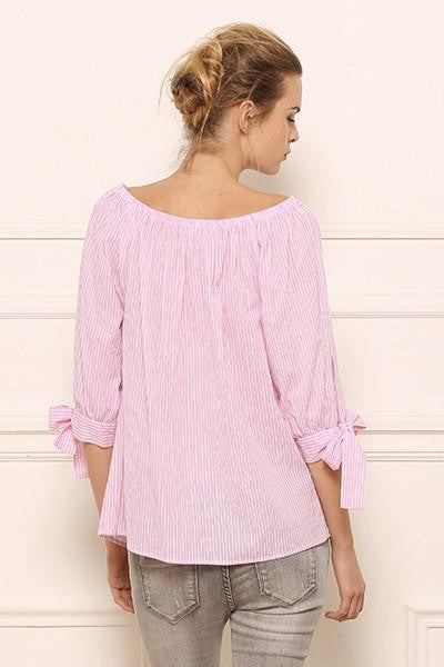 Blouse off shoulders en coton ligné rose Amy Lou