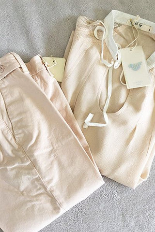 Pantalon chino Sally rose poudre Nvy Denim
