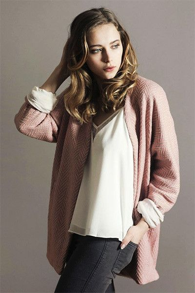 Veste ample milkshake rose