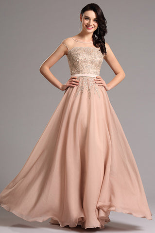 Champagne A Line Cap Sleeve Applique Formal Evening Dress (00160346)