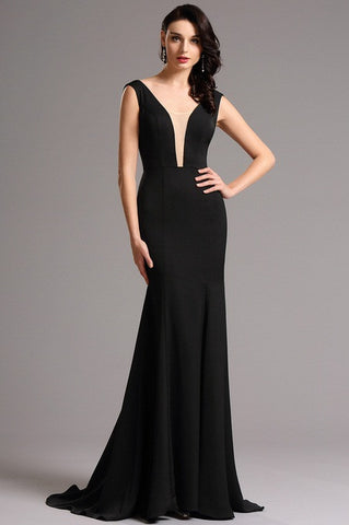 Elegant Black Formal Evening Gown with Illusion Plunging Neck (00160800)