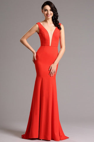 Elegant Red Formal Evening Gown with Illusion Plunging Neck (00160802)