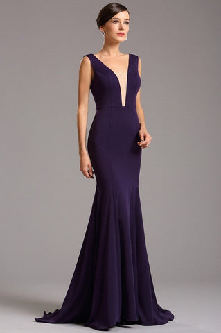 Elegant Purple Formal Evening Gown with Illusion Plunging Neck (00160806)