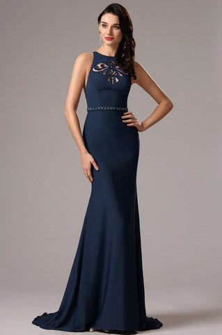 Sleeveless Navy Blue Formal Evening Gown with Cutouts (00160905)