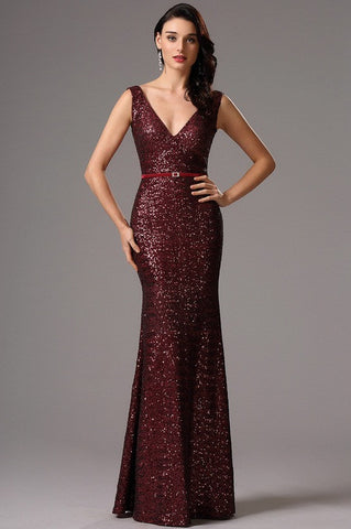 Sleeveless Plunging Neck Burgundy Red Sequin Formal Dress (00161717)
