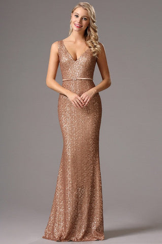 Sleeveless Brown Plunging Neck Sequin Formal Dress Evening Dress (00161720)