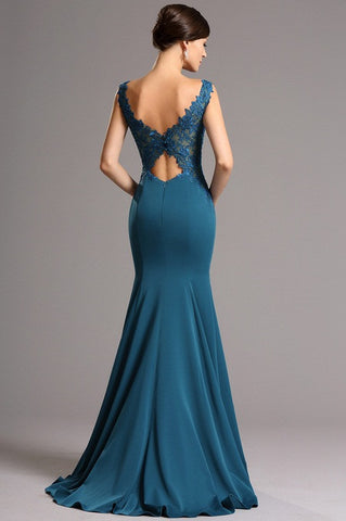 Sleeveless Embroidered Back Teal Blue Mermaid Evening Gown (00161805)