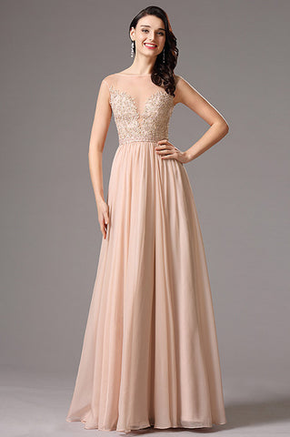 A Line Cap sleeve Peach Pink Gown with Beaded Embroidery (00162101)