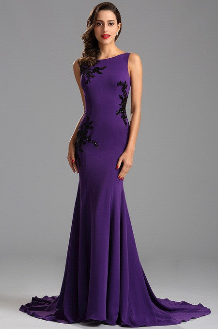Sleeveless Open Back Lace Applique Purple Formal Evening Dress (00163006)