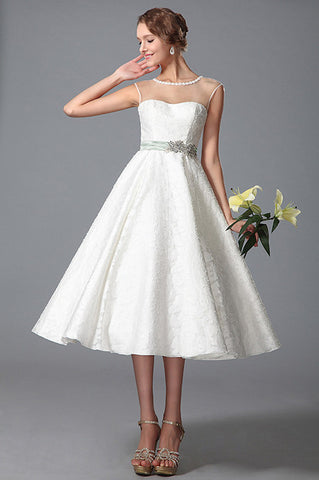 Sleeveless Sheer Top Tea Length Wedding Gown (01150107)