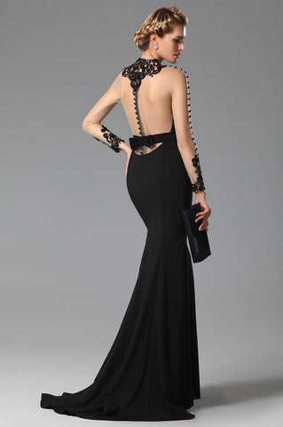 High Neck Back Bowknot Slit Black Evening Gown (02150100)