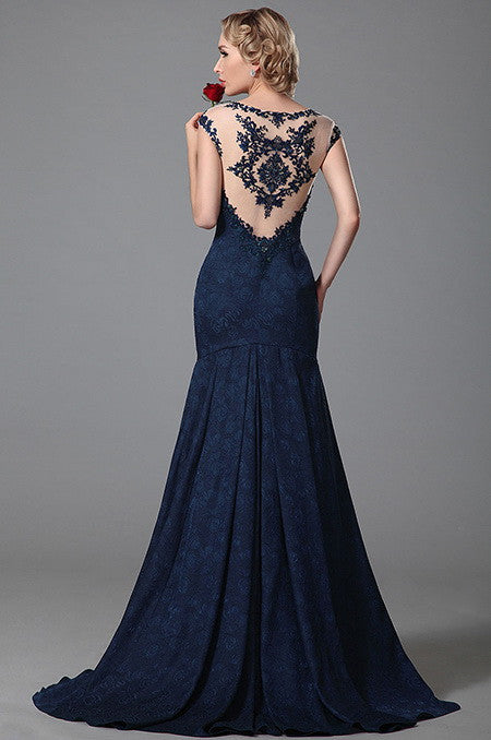 Gorgeous Embroidery Cap Sleeves Evening Gown Prom Dress (02152405)