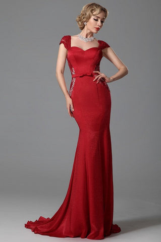 Cap Sleeves Trumpet Evening Dress Formal Wear (02152702)