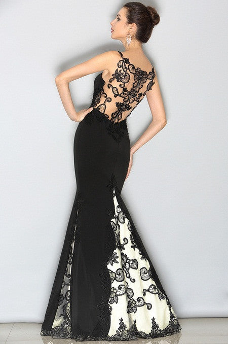 Gorgeous Black Lace Applique Evening Gown (02153300)